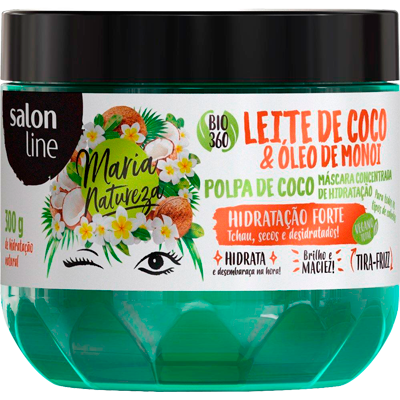 Creme de Tratamento de Cabelos leite de coco 300g Maria Natureza/Salon Line pote POTE