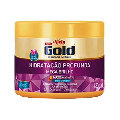 Creme de Tratamento de Cabelos Mega Brilho 430g Niely Gold pote POTE