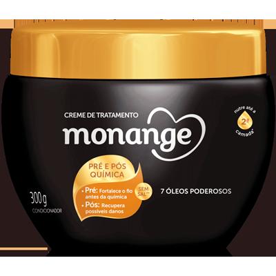 Creme de Tratamento de Cabelos pré e pós quimica 300g Monange pote POTE