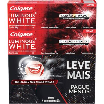 Creme Dental Carvão Ativado Leve Mais Pague Menos  4 unidades de 70g Luminous White Colgate   UN