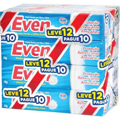 Creme Dental Flúor Cálcio Leve 12 Pague 10 12 unidades de 70g Even  UN
