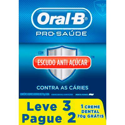 Creme Dental tradicional escudo anti açúcar 3 unidades de 70g Oral-B embalagem UN