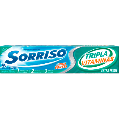 Creme Dental tradicional tripla vitamina 70g Sorriso  UN