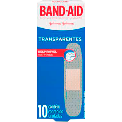 Curativos Adesivos Transparentes 10 unidades Band-Aid caixa CX