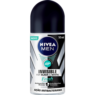 Desodorante roll-on black white fresh 50ml Nivea Men  UN