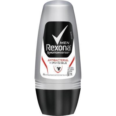 Desodorante roll-on invisible antibacterial 50ml Rexona Men  UN