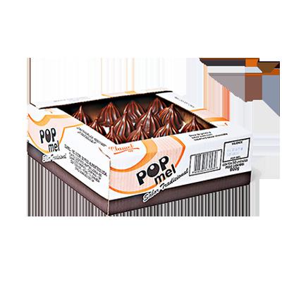 Doce de marshmallow com cobertura de chocolate 50 unidades Clamel caixa CX