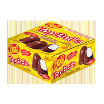 Doce de marshmallow recheio tradicional e cobertura de chocolate 50 unidades Top Bells caixa CX