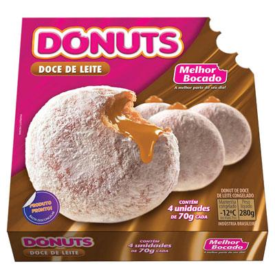 Donut recheado de doce de leite 24 unidades de 70g Donut caixa CX