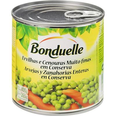 Dueto de legumes cenoura e ervilha em Conserva muito finas 265g Bonduelle lata UN