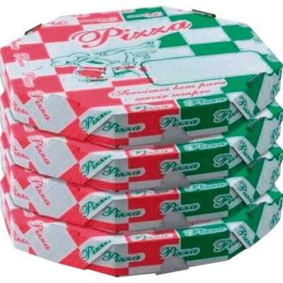 Embalagem para pizza Oitavada 30cm Estampada 25 unidades Porto Feliz pacote PCT