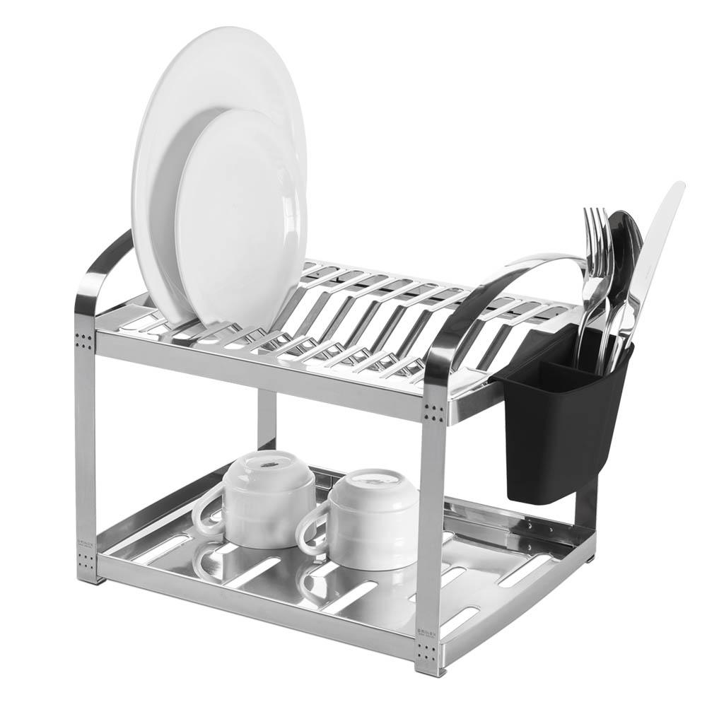 Escorredor  Aço Inox 12 Pratos com Escorredor de Talheres Plástico Suprema unidade Brinox  UN