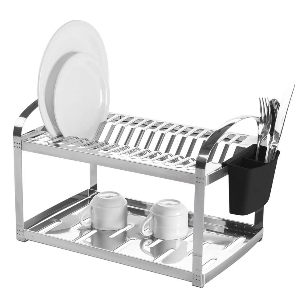 Escorredor  Aço Inox 16 Pratos com Escorredor de Talheres Plástico Suprema unidade Brinox  UN
