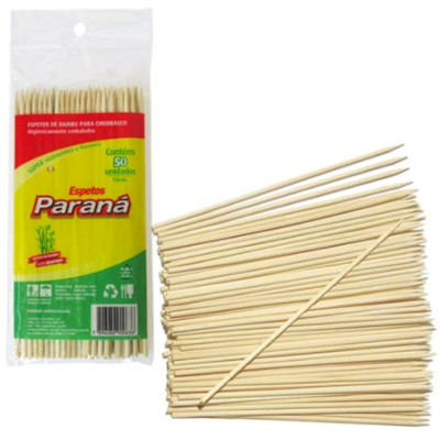 Espeto de bambu 18cm x 3mm 50 unidades Paraná pacote PCT