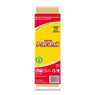 Espeto de madeira 25cm x 4mm 100 unidades Paraná pacote PCT