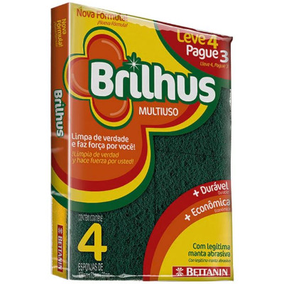 Esponja de Limpeza Multiuso Leve 04 Pague 03 04 unidades Bettanin/Brilhus pacote UN