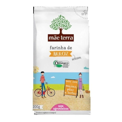 Farinha de arroz orgânico integral 200g Mãe Terra pacote PCT