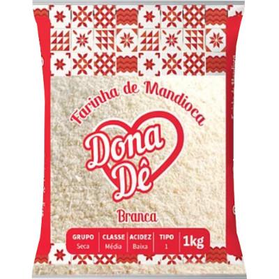 Farinha de Mandioca Branca 1kg Dona Dê pacote UN