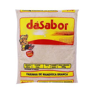 Farinha de mandioca crua e fina 500g DáSabor pacote PCT