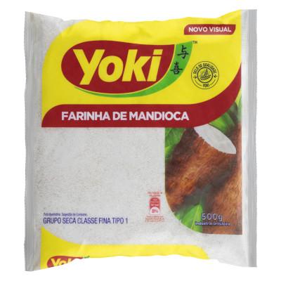 Farinha de mandioca crua e fina 500g Yoki pacote PCT