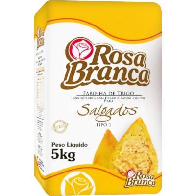 Farinha de trigo especial para salgados 5kg Rosa Branca pacote PCT