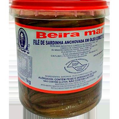Filé de Sardinha anchovada por Kg Beira Mar balde KG