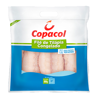 Filé de Tilápia congelado 800g Copacol pacote PCT