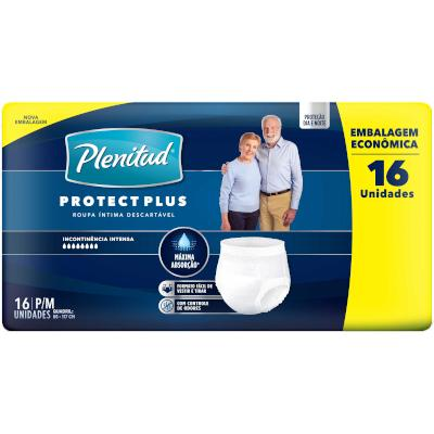 Fraldas Descartáveis Geriátrica Plus Tamanho P/M 16 unidades Protect Plenitud pacote PCT