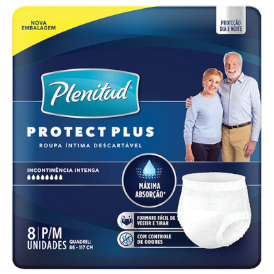Fraldas Descartáveis geriátrica plus tamanho P/M 8 unidades Protect Plenitud pacote PCT