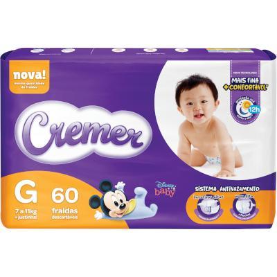 Fraldas Descartáveis Infantil tamanho G Disney Baby Magic Care Hiper 60 unidades Cremer pacote PCT