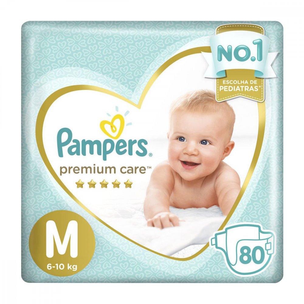 Fraldas Descartáveis tamanh M 80unidades Pampers Premium Care pacote PCT
