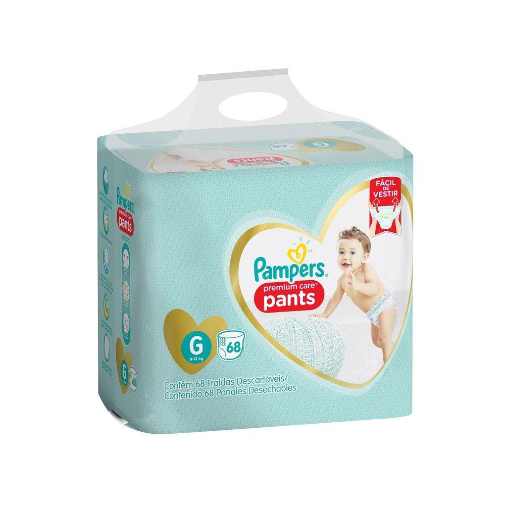 Fraldas Descartáveis tamanho G Calça 68 unidades Pampers Premium Care  pacote PCT