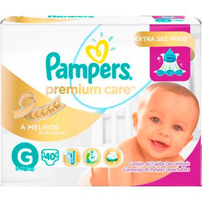 Fraldas Descartáveis tamanho G 40 unidades Pampers/Premium Care pacote PCT