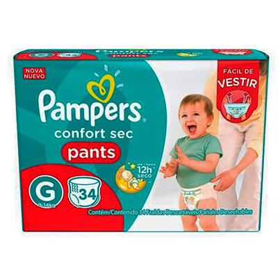 Fraldas Descartáveis Tamanho G Pants 34 unidades Pampers Confort Sec pacote PCT