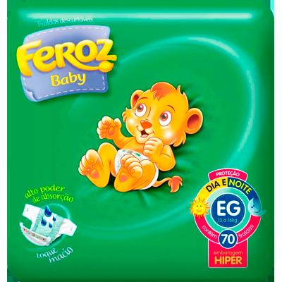 Fraldas Descartáveis tamanho hiper EG 70 unidades Feroz baby pacote PCT