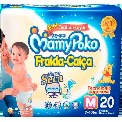 Fraldas Descartáveis tamanho M Calça 20 unidades Mamypoko pacote PCT