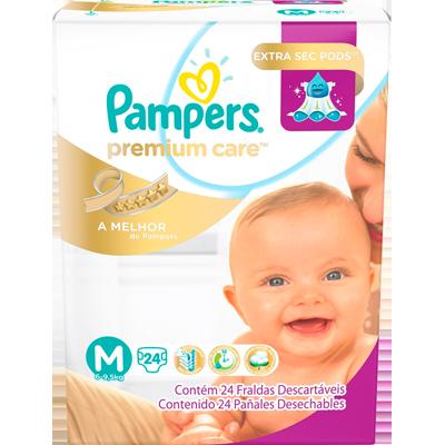 Fraldas Descartáveis tamanho M 24 unidades Pampers/Premium Care pacote PCT