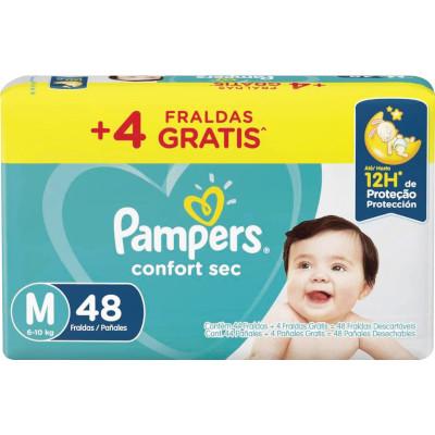 Fraldas Descartáveis Tamanho M 44 unidades Pampers Confort Sec pacote PCT