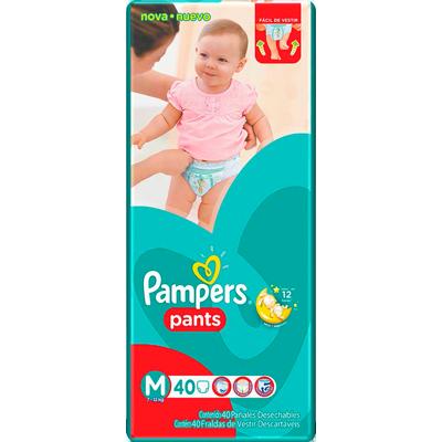 Fraldas Descartáveis tamanho M Pants Mega 40 unidades Pampers pacote PCT