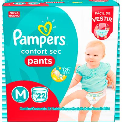 Fraldas Descartáveis Calça tamanho M 22 unidades Pampers/Pants Confort Sec pacote PCT