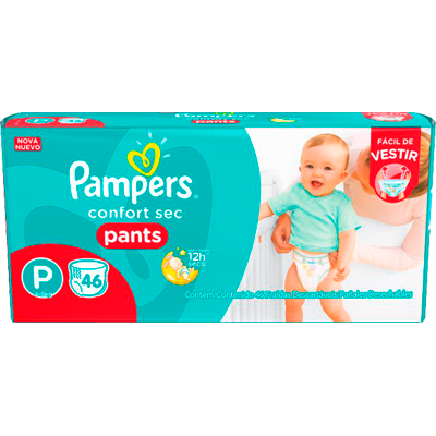 Fraldas Descartáveis Calça tamanho P 46 unidades Pampers/Pants Confort Sec pacote PCT