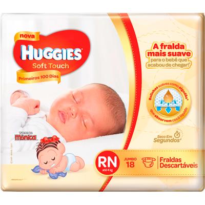 Fraldas Descartáveis tamanho RN Soft Touch 18 unidades Huggies pacote PCT