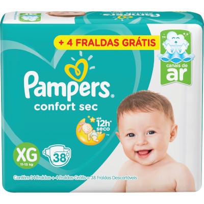 Fraldas Descartáveis tamanho XG 34 unidades Pampers Confort Sec pacote PCT