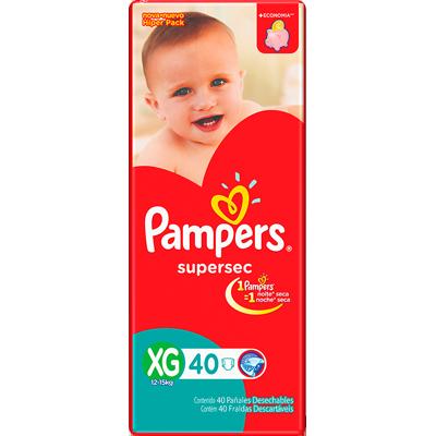 Fraldas Descartáveis tamanho XG 40 unidades Pampers/Supersec pacote PCT
