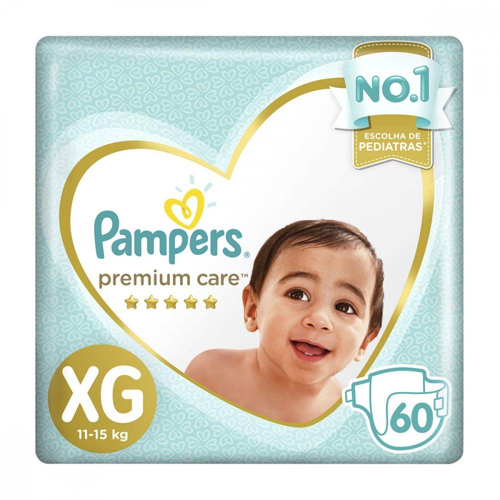 Fraldas Descartáveis tamanho XG 60 unidades Pampers/Premium Care pacote PCT