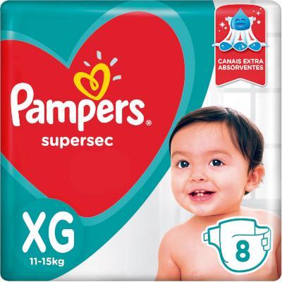 Fraldas Descartáveis tamanho XG 8 unidades Pampers/Supersec pacote PCT