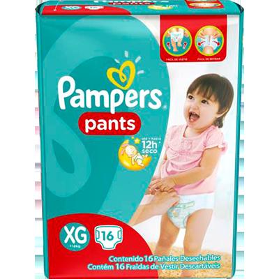 Fraldas Descartáveis Tamanho XG Pants 16 unidades Pampers Confort Sec pacote PCT