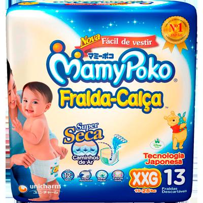 Fraldas Descartáveis tamanho XXG Calça 13 unidades Mamypoko pacote PCT