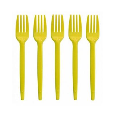 Garfo descartável sobremesa amarelo 50 unidades Sert Plast pacote UN