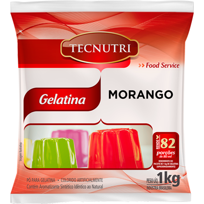 Gelatina sabor morango 1kg Tecnutri pacote PCT